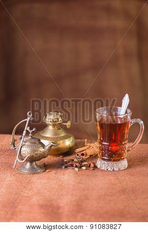 Tea. Tea on a light background. Warm, delicious tea.