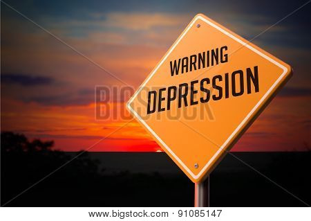Depression on Warning Road Sign.