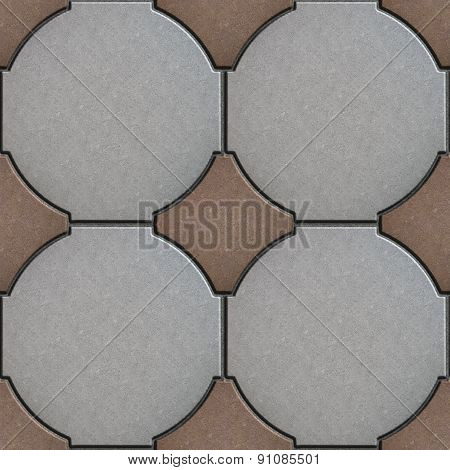 Gray and Brown Paving in Form of a Circle and Squares.