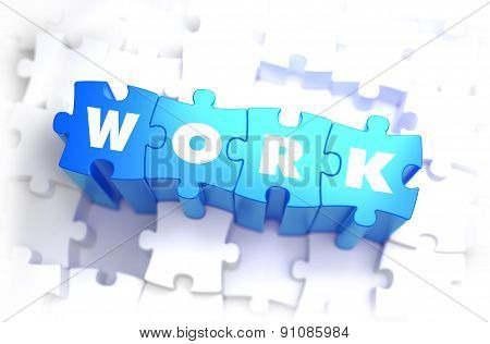 Work - White Word on Blue Puzzles.