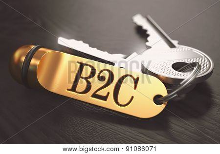 B2C - Bunch of Keys with Text on Golden Keychain.