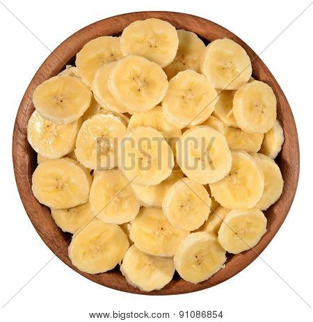 Banana Slices In A Wooden Bowl On A White