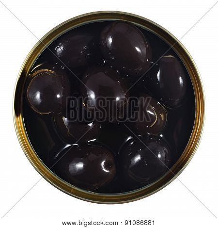 Black Olives In A Tin On A White