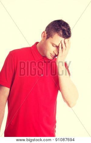 Man with a headache or problem