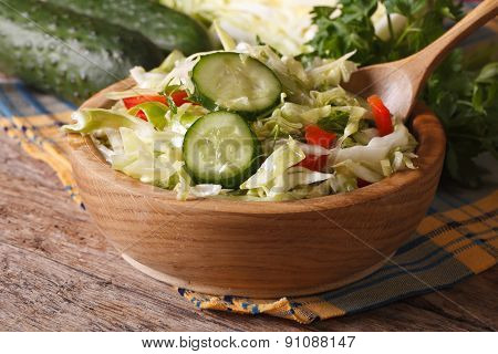 Salad Of Fresh Cabbage And Cucumber In A Bowl. Horizontal