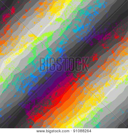 Abstract grunge pattern on rainbow background.