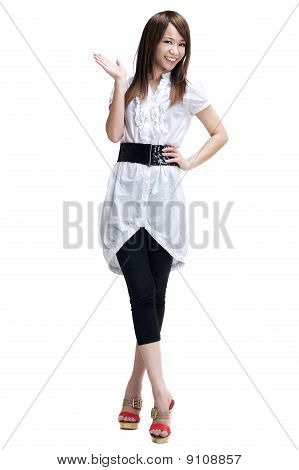 Woman Presenting Product Isolated On White.
