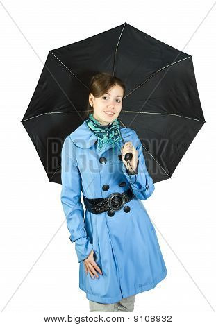 Woman  In  Raincoat  With Umbrella