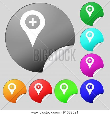 Plus Map Pointer, Gps Location  Icon Sign. Set Of Eight Multi-colored Round Buttons, Stickers. Vecto