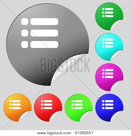 List Menu, Content View Options  Icon Sign. Set Of Eight Multi-colored Round Buttons, Stickers. Vect