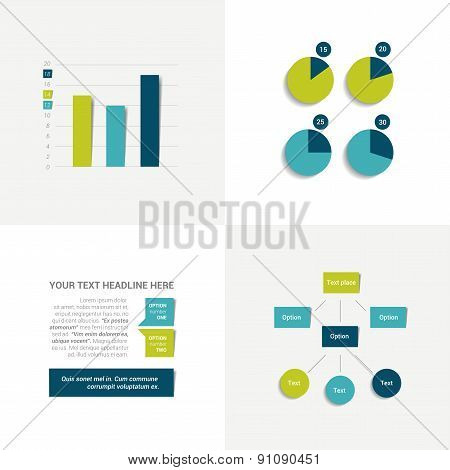 Flat Set Of Charts And Brochure Elements.