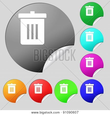 Recycle Bin, Reuse Or Reduce  Icon Sign. Set Of Eight Multi-colored Round Buttons, Stickers. Vector