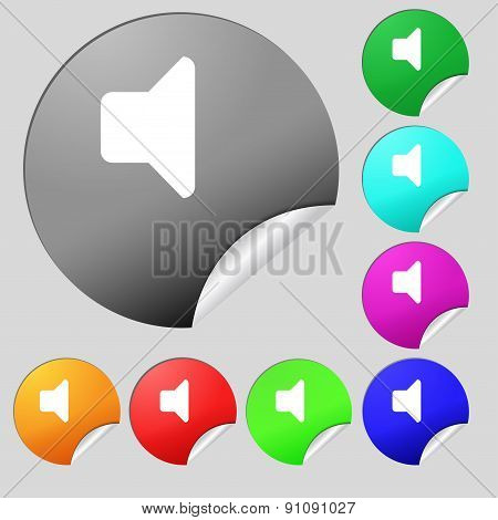 Speaker Volume, Sound  Icon Sign. Set Of Eight Multi-colored Round Buttons, Stickers. Vector