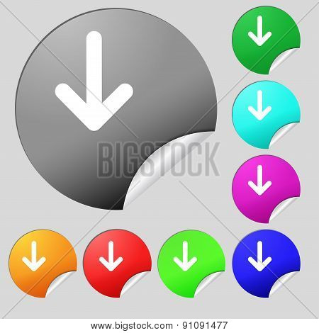 Arrow Down, Download, Load, Backup Icon Sign. Set Of Eight Multi-colored Round Buttons, Stickers. Ve