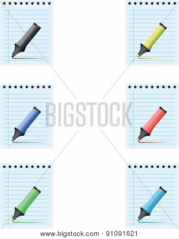 Notepad with different colored marker pens