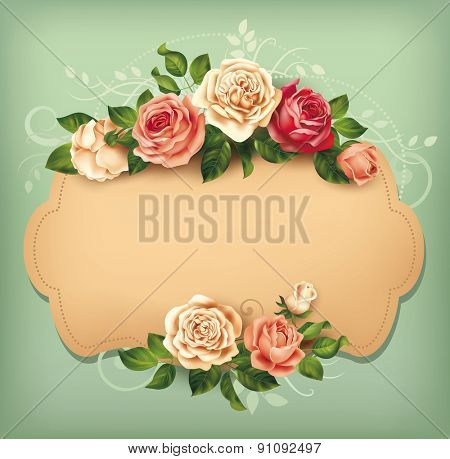 Blank card with rose border. Vector illustration.
