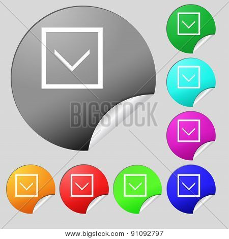 Arrow Down, Download, Load, Backup  Icon Sign. Set Of Eight Multi-colored Round Buttons, Stickers. V