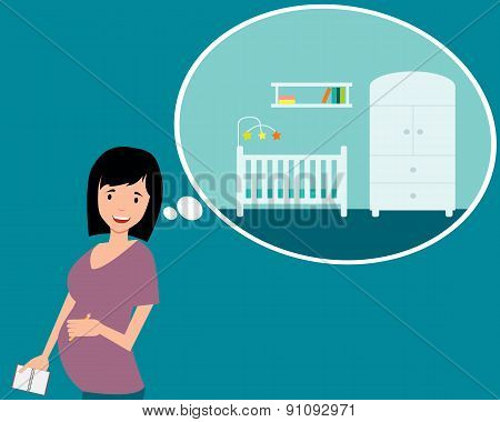Nursery. A pregnant woman planning design a room. Vector illustration