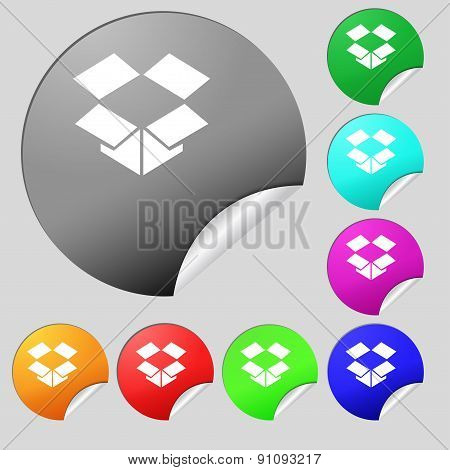 Open Box I Icon Sign. Set Of Eight Multi-colored Round Buttons, Stickers. Vector