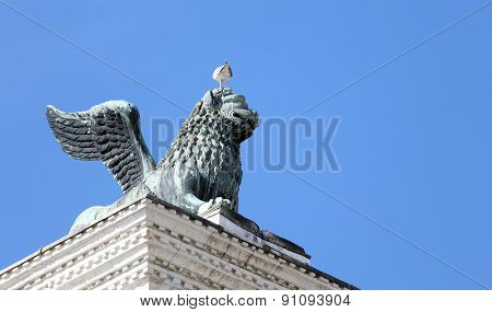 Winged Lion Statue In Piazza San Marco In Venice And Seagull In Head