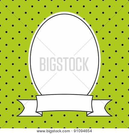 Vector frame on polka dots green background