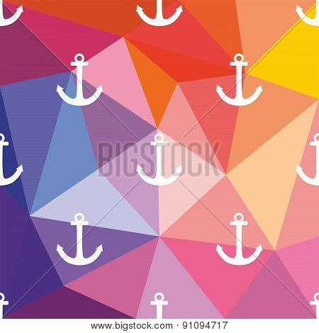 Tile sailor vector pattern with white anchor on wrapping surface background