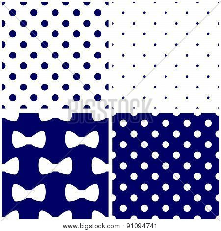 Tile vector dark blue and white pattern set with polka dots and bows