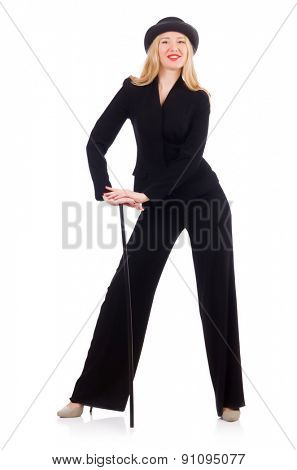 Girl in classic male suit isolated on white