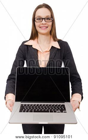 Working lady with laptop isolated on white