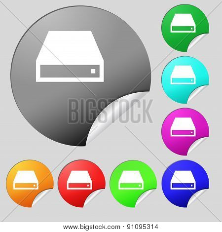 Cd-rom  Icon Sign. Set Of Eight Multi-colored Round Buttons, Stickers. Vector