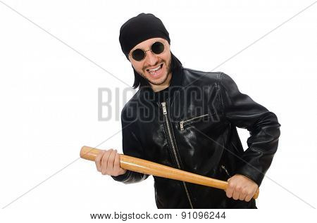 Aggressive man with baseball bat on white