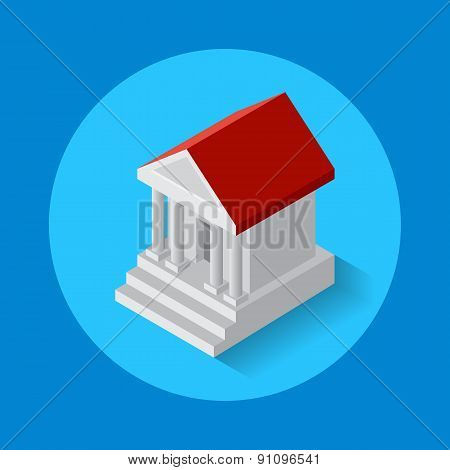 Vector icon of bank building.