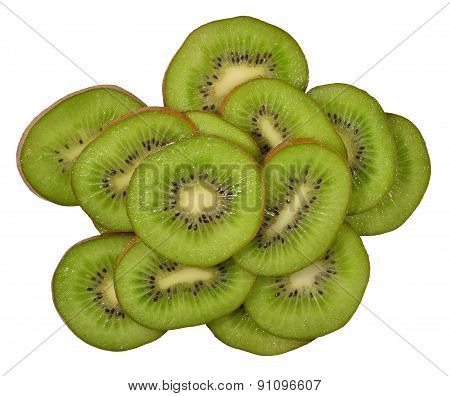 Heap Of Orange, Lemon And Kiwi Slices On A White