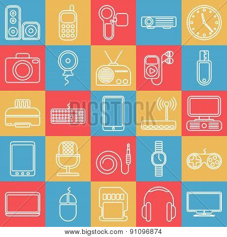 Vector gadgets line icon set