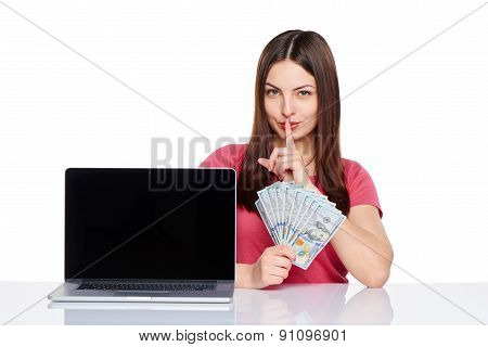 Woman showing  laptop screen