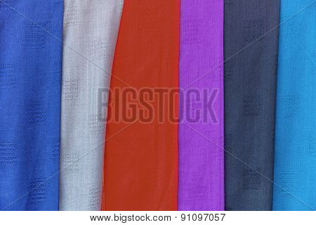 Colorful Of Scarves In A Textiles Market