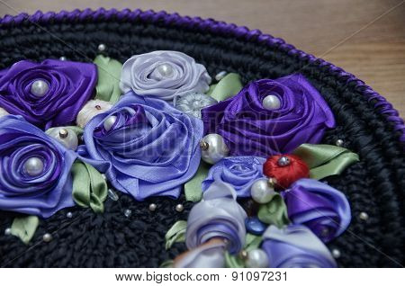 Handmade embroidery with satin ribbons