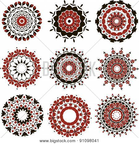 Set of black and red mandalas
