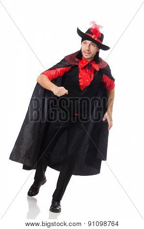 Young man in carnival coat isolated on white