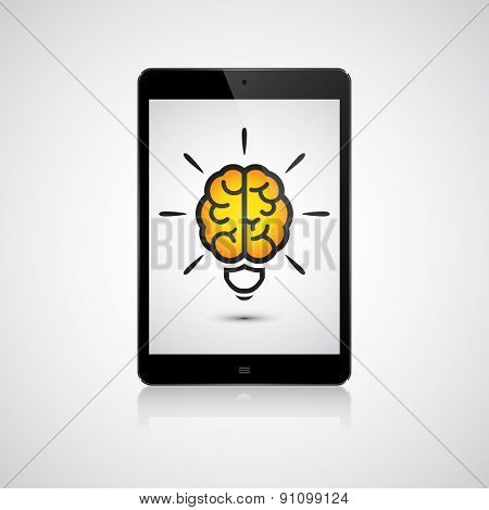 Brain light bulb on the tablet. Idea concept
