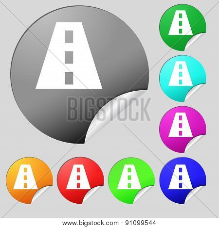 Road Icon Sign. Set Of Eight Multi-colored Round Buttons, Stickers. Vector