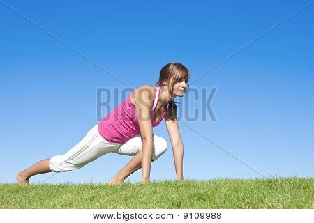 Woman fitness and stretching