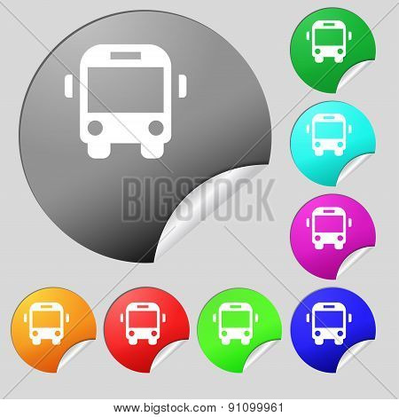 Bus Icon Sign. Set Of Eight Multi-colored Round Buttons, Stickers. Vector