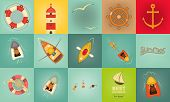stock photo of ski boat  - Sea Summer Icons - JPG