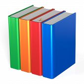 stock photo of four  - Blank books four textbooks bookshelf educational bookcase row standing 4 colorful green orange red blue template - JPG