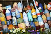 pic of lobster  - Lobster buoys as decoration of a lobster shed - JPG