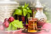 image of oasis  - Oasis dream with mint tea and red grapes - JPG