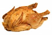 stock photo of roast chicken  - roasted chicken isolated on a white background - JPG