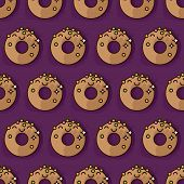 picture of kawaii  - Kawaii donut seamless vector pattern - JPG