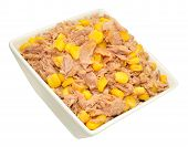 stock photo of sweet-corn  - Flaked tuna fish and sweet corn mix in a dish isolated on a white background - JPG